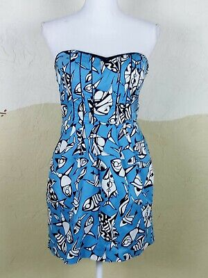Ark & Co Womens Size Medium Dress Blue Black White Fish Print Strapless Lined