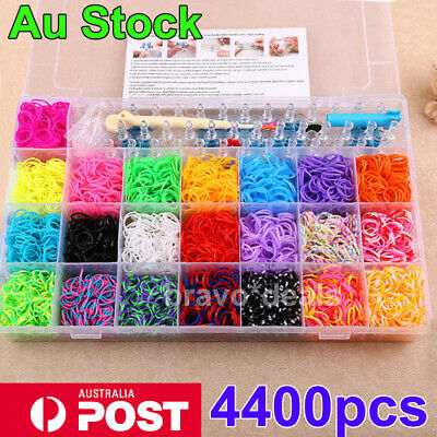 Large Rainbow Loom Band Case Kit 4400 Bands Loom Hooks Clips w/ Free Charms AU