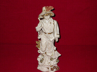 "Antique Vintage German Bisque Statue Figurine Girl Gilt Large 16"" Tall Numbered"