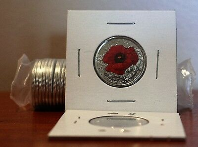 2015 Canada Quarter Poppy 25 Cents UNC from Bank Roll Wrap Coloured Red BU
