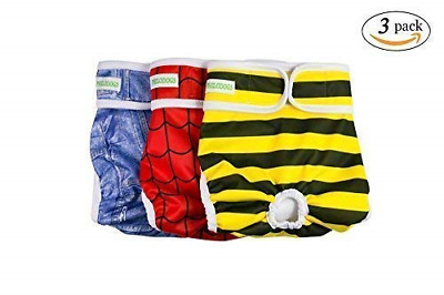 PHILODOGS Dog Diapers Washable Dog Wraps Reusable Doggie Belly Bands Absorbent L
