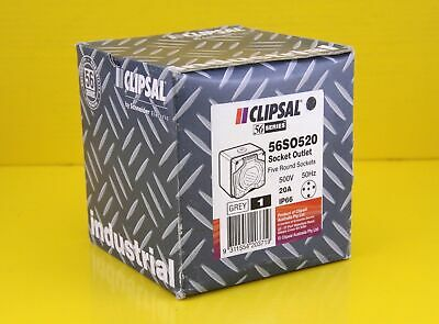 Clipsal 56SO520-CG 20A 5 Round Pin Socket Outlet CHEMICAL RESISTANT Grey