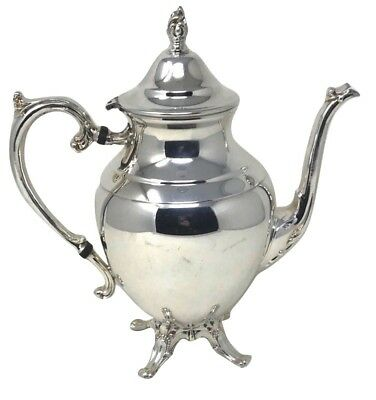 "Wm Rogers Silverplate COFFEE TEA POT w/ Light Scroll Detail 11""H"