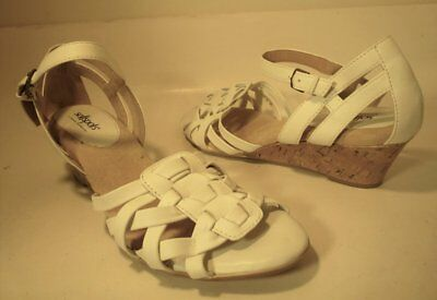 SOFTSPOTS Sz 11 M White Leather Strappy Mary Jane Cork Wedge Sandal Pump Shoes