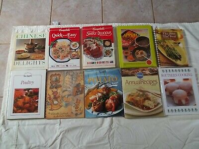 Large Lot Of 10 Vintage Hard and Soft Cover Cook Books