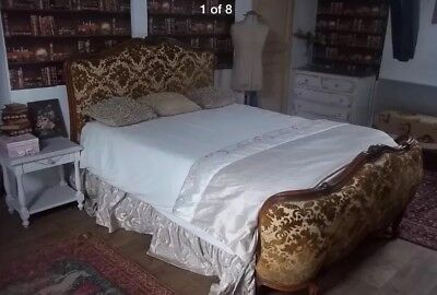 Antique Vintage French Wooden Demi Corbeille Louis Double Bed Frame