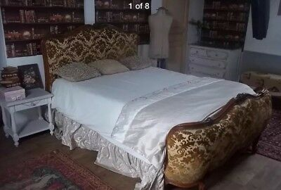 Vintage French Wooden Demi Corbeille Louis Double Bed Frame