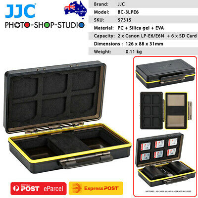 AU STOCK*JJC Multi-Function Battery Case for 2x Canon LP-E6/E6N Battery+ 6xSD CA