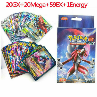 100Pcs Pokemon Cards Bundle 20GX+20Mega+59EX+1Energy Holo Flash Trading Cards