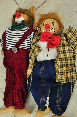 "Vintage Pair of Wooden String Marionette Puppets by Grove International-13"" Tall"