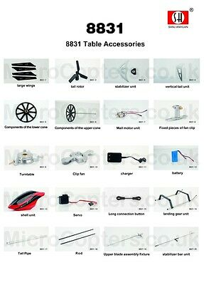 SH 8831 RAPID Z Series 2.4GHz 4 Ch Helicopter Complete Range of Spares Parts UK