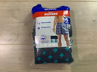 Gildan Mens Woven Plaid Boxer Shorts Underwear 5-Pack Size S Small 28-30