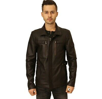 Mens Black Leather Jacket Military Jean Style Casual Made to Order Zippered Coat