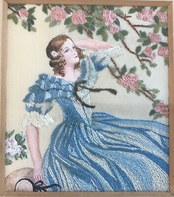 Beautiful Vintage Small Embroidered Romantic Lady Picture