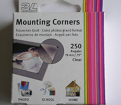 250 3L Large Traditional Classic Clear 19Mm Self Adhesive Photo Corners