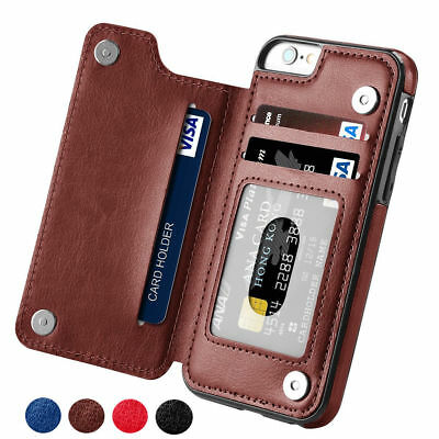 Leather Flip Wallet Card Holder Case Cover For iPhone XR X 8 Plus Samsung S9 S10