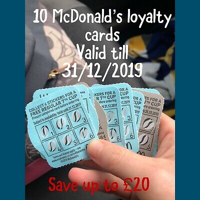 10 McDonalds hot drinks coffee completed stickers loyalty reward cards vouchers