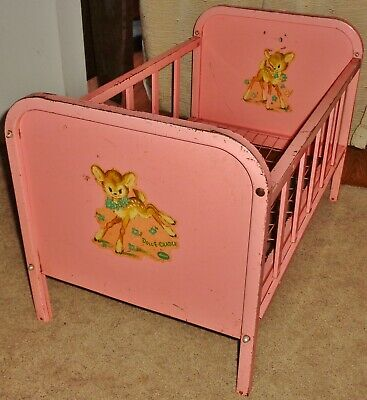 Doll E Cradle Amsco Vintage Baby Crib Barbie Toy Toddler Play Furniture Antique
