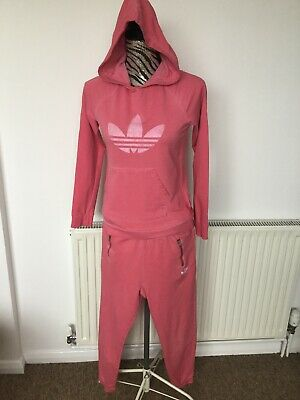 Adidas Tracksuit 2 Piece Bottoms & Hoodie Matching Set Pink Age:10-11 Years