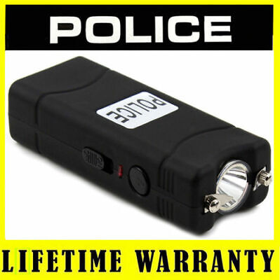 STUN GUN POLICE 801 BLACK 55 BV Rechargeable LED Flashlight + Taser Case