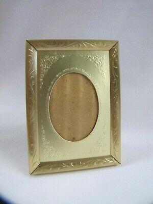 Vintage Small Picture Frame with Stamped Gold Paper Matte