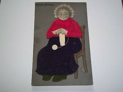 Vintage Novelty Postcard.handmade With Felt. Old Lady Crocheting. Sweet Seventy
