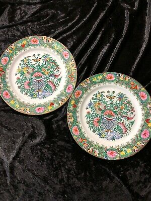 Vintage Two Asian Oriental Hand Painted Collector 10 Plates Butterflies