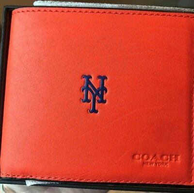 07b913527c NEW WITH DEFECTS Coach 75433 Compact ID MLB Men's NY Mets Baseball Wallet