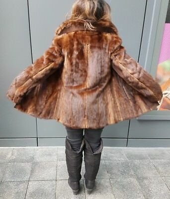 GENUINE VINTAGE REAL MINK FUR JACKET coat sable hue hopka vison SMALL 36 UK 8 10