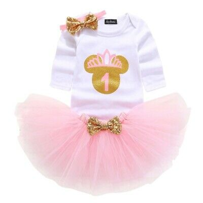 Baby Girl 1st Birthday Dress Outfit Romper Set Minnie Mouse Cakesmash Photoshoot