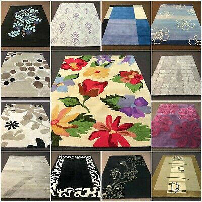 Huge Clearance Sale Floral Modern Large 100% Pure Wool Multi Colour Rugs Mat