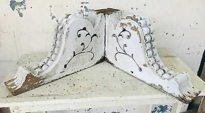 Antique Victorian Salvaged Corbel Pair Architectural Chippy Paint Shabby 1860s