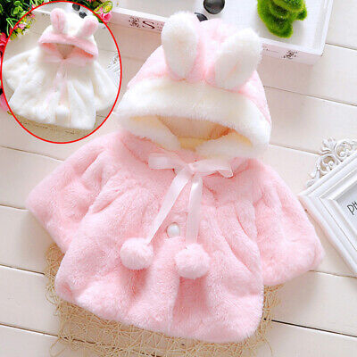 Fur Jacket Baby Warm Thick Soft Girls Kids Newborn Winter Hooded Clothes Coat