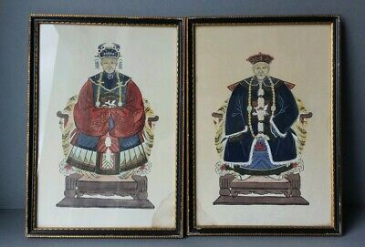 Vintage Antique Chinese Empress Emperor Paintings Portraits.