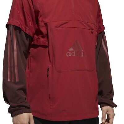 Men's Adidas Athletic ID Woven Shell Anorak Jacket Hoodie Size-XL- DH9050 Maroon
