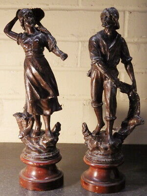 VICTORIAN 19th Century Pair of Spelter FISHERMEN FIGURES