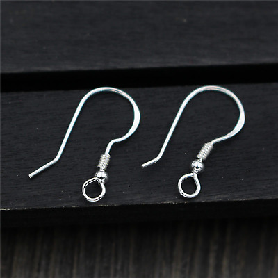925 Sterling Silver Earring Fish Hooks | Coil & Bead | 18mm | 5 Pairs