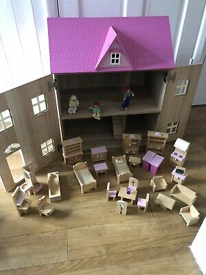 Large Girls wooden pink doll Play house & wooden toys