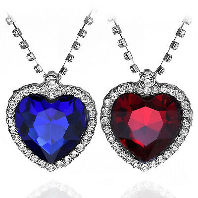 Titanic Heart Of The Sea Ocean Women Necklace With Blue Red Big Sapphire Crystal