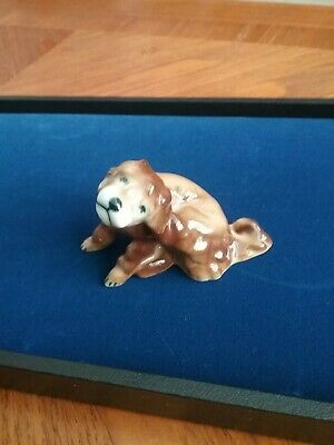 Zsolnay Pecs Porcelain Scratching Pup Figurine Hungary
