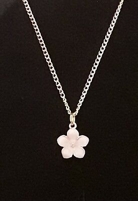 Gold Plated Girls Necklace with Pale Pink Enamel Flower Pendant Beautiful Gift