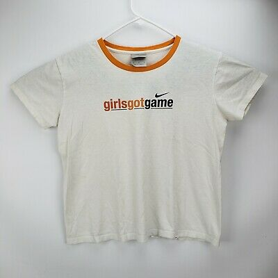 d3935a2592a0a VINTAGE NIKE CROP Top Shirt Womens Large White Tag Ladies 90s ...