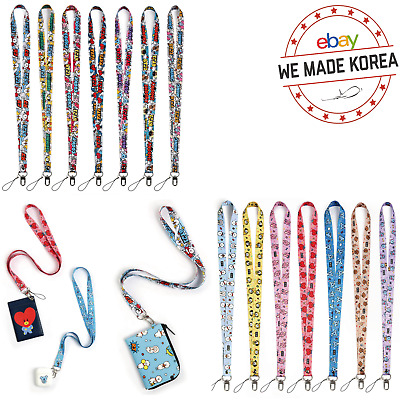 BTS BT21 Character Neck Strap Keychain Phone Card Holder 2types Official KPOP MD