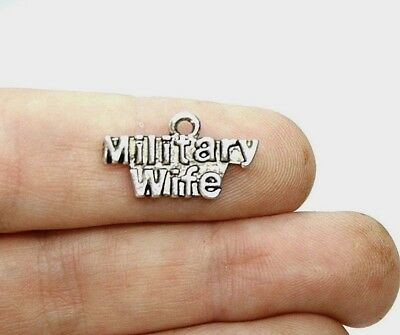 10 Military Wife Charms 21 x 11 mm Antique Silver Tone Metal US Seller  377