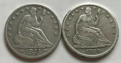 Seated Liberty Half Dollars:  1854 and 1866-S (both VF)