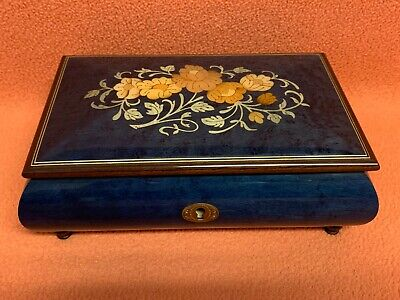 Vintage Reuge Romance Music Jewelry Box Swiss Edelweiss 4287 Inlaid Wood Floral