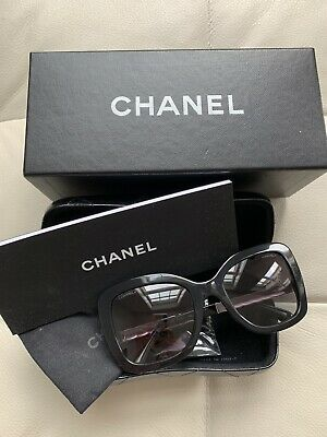 2855af5cfc CHANEL CH5370 Women Black Silver gray Gradient Sunglasses Butterfly RRP £315