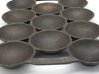 Waterman Cast Iron Muffin Pan Large 1860's  Forged Egg Pan #3 11ct 4,3,4 USA