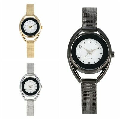 Unique Women Hollow Quartz Watch Analog Wristwatch Stainless Dial Mesh Band Gift