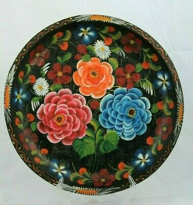 Vntg Mexican Wood Platter Folk Art Hand Painted/Tooled Collectible Home Large